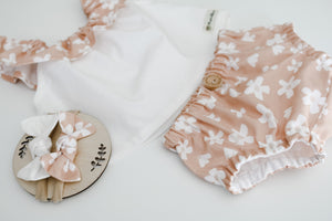 Peasant Ruffle Swing Top & Nappy Pant Set - Daisy Blush
