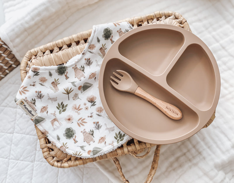Suction Plate & Bib Set | Woodland Animal Taupe