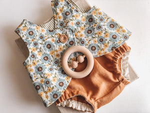 Linen Nappy Cover & Singlet Set - Sunflower - Mama Bear