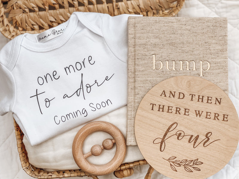 'One more to adore' Pregnancy Announcement Onesie