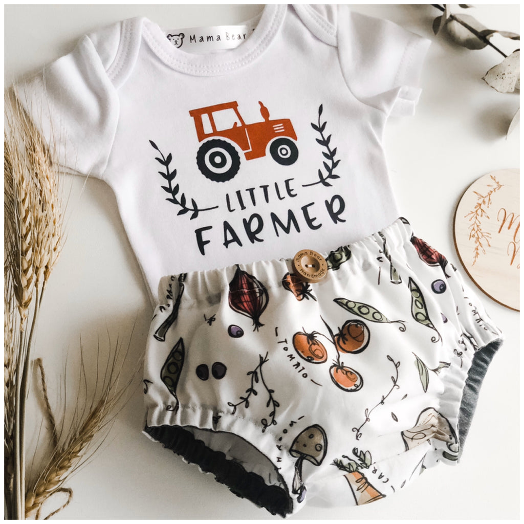 Nappy Pant & Onesie Set - Little Farmer - Mama Bear
