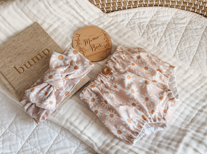 Woven Cotton Bloomies & Stretch Topknot Set - Blush Daisy