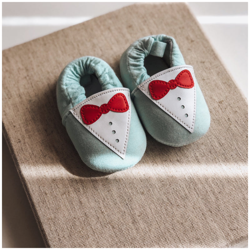Moccasins - Blue Bow Tie - Mama Bear