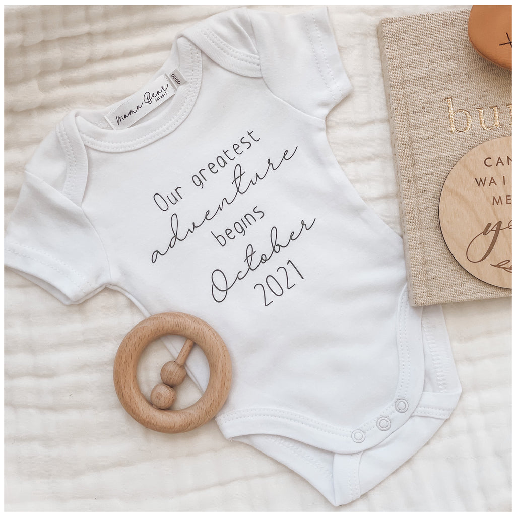 'Our Greatest Adventure Begins' Pregnancy Announcement Onesie