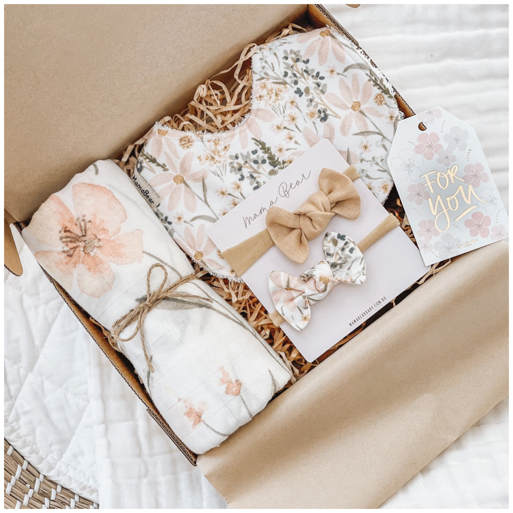 Swaddle, Bib & Hairbow Giftbox | Pastel Meadow