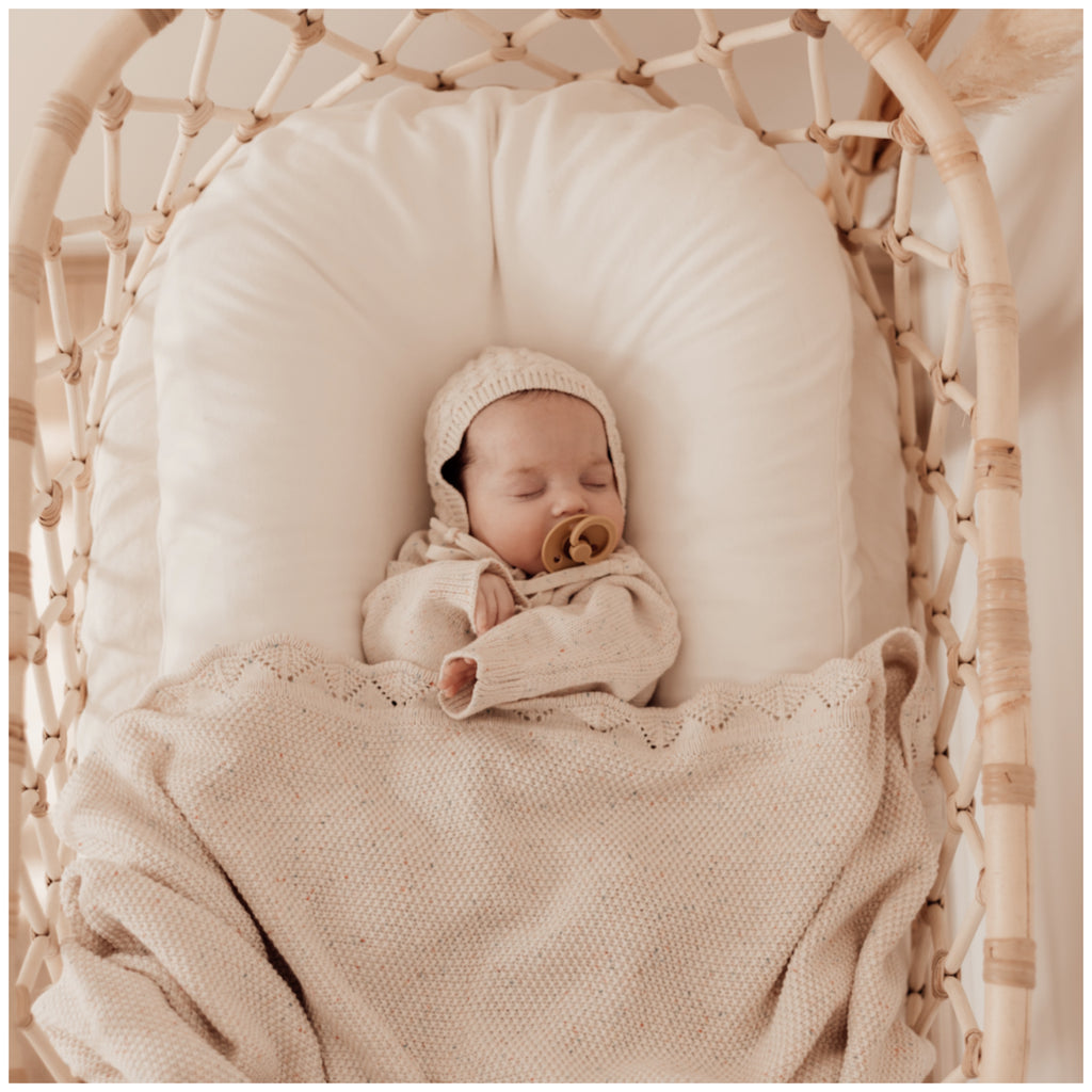 Heirloom Knit Blanket - Oatmeal Fleck | Ziggy Lou