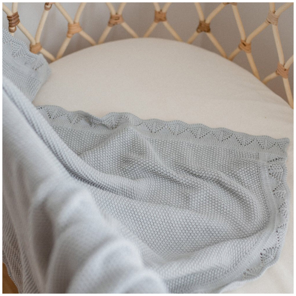 Heirloom Knit Blanket - Sage | Ziggy Lou