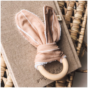 Natural wood & Bunny ear Teething Ring - Mama Bear