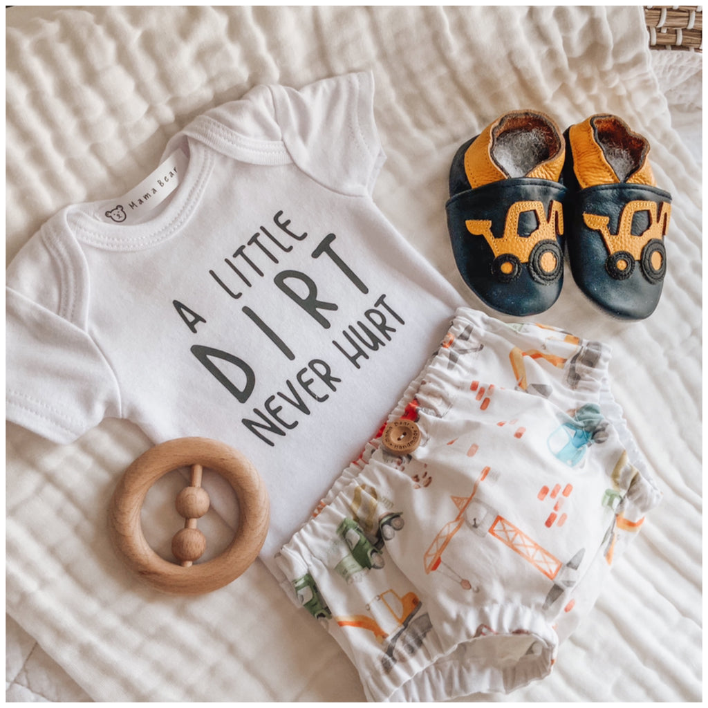 Nappy Pant, Onesie & Shoe Set - Digger