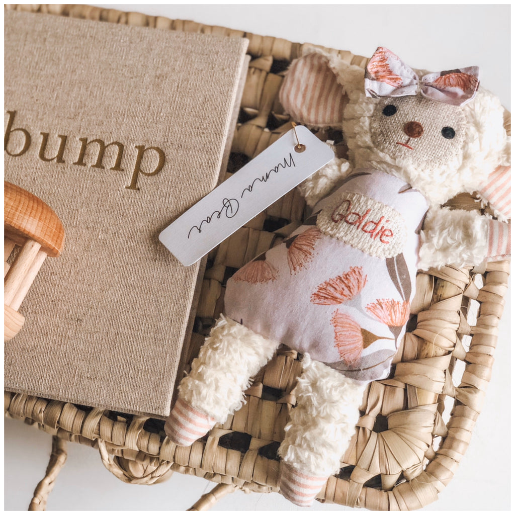 Mini Chenille Lamb - Personalised Name - Mama Bear