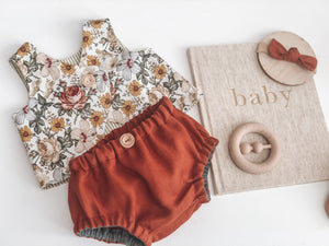Linen Nappy Cover & Singlet Set - Mama Bear