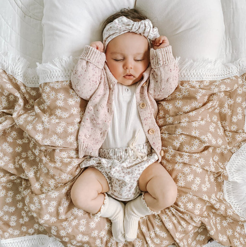 Mini Daisy (Dusty Rose) Fringe Swaddle | Ziggy Lou