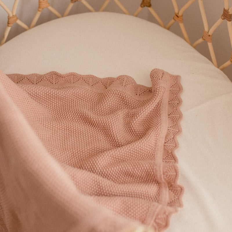 Heirloom Knit Blanket - Dusty Peach | Ziggy Lou