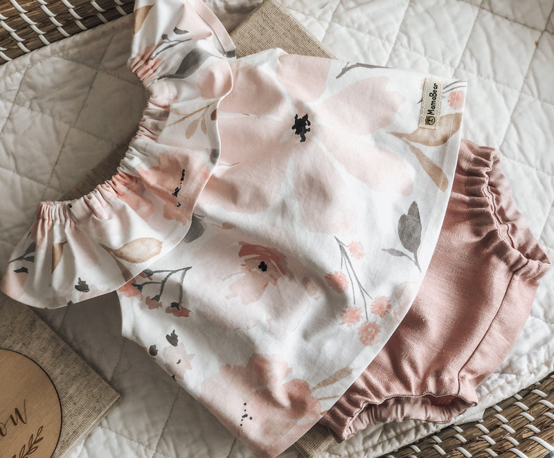 Ruffle Swing Top & Nappy Pant Set - Floral
