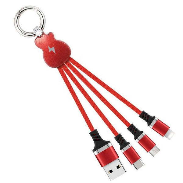 Guitar Keychain 3 In 1 Usb Cable