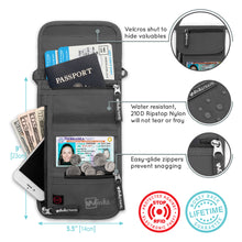 Load image into Gallery viewer, Travel Neck Wallet - Grey