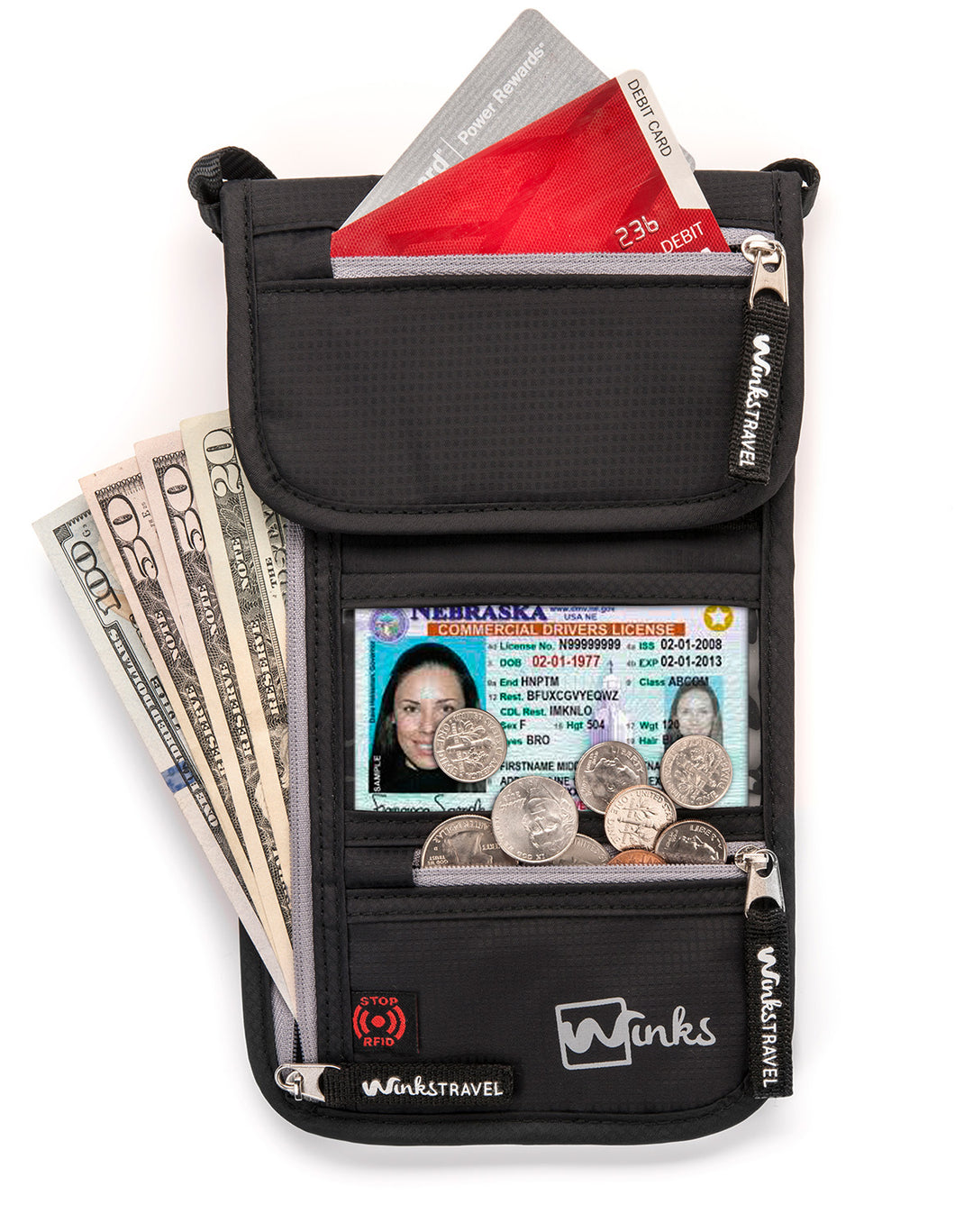 Travel Neck Wallet - Black