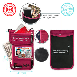 Travel Neck Wallet - Pink