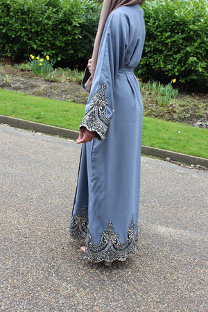 Ariana Blue Abaya being worn in a park