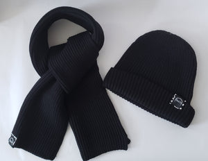 Black Scarf and Beanie Set