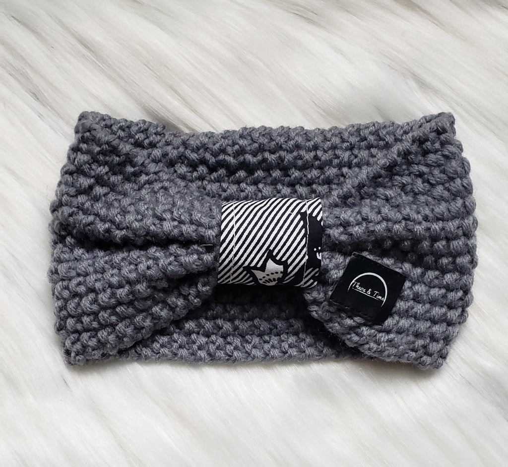 Gray Bow Headband
