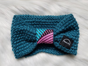 Teal Ankara Bow Headband