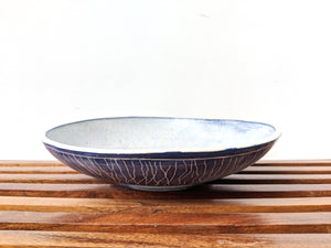 Shallow Blue Serving Bowl