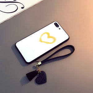 Luxury Tempered Glass Case For iPhone Xr Xs Max Tassel Lanyard Love Heart Cover For iPhone 7 8 6s Plus Bumper Shockproof Fundas