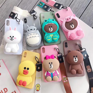 case for 7 plus 3D cute cartoon animal wallet lanyard phone case for iphone X XR XS 5S SE 11 pro MAX 8 6 plus stitch bear cover