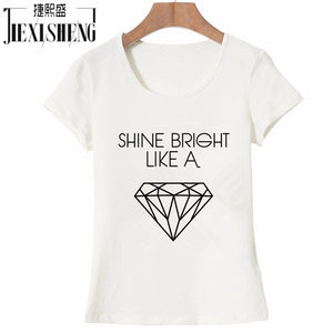Newest 2017 Fashion Cotton Women T shirt Diamond Letter Print T-shirt Short Sleeve O-neck Vogue Tops tshirt