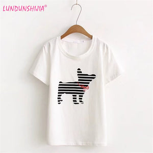 LUNDUNSHIJIA 2017 Summer Fashion Short Sleeve T-Shirts For Women Bow Dog Printed White 100% Cotton T-shirt Top