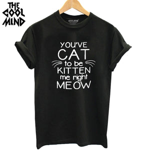 THE COOLMIND 2017 100% Cotton Women Fashion cat T shirt Novelty Tops Lady Meow Printed Short Sleeve Harajuku Tees Tshirt