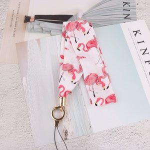 Fashion Flamingo Neck Strap Chiffon Wide Choker Lanyard for keys ID Card Gym Mobile Phone Straps USB badge holder DIY Hang Rope
