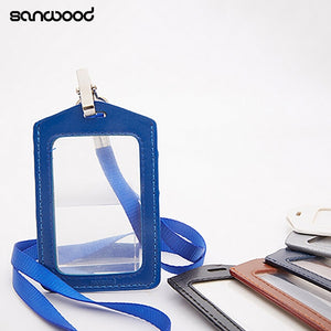 Fashionable ID Badge Card Holder Faux Leather Frame Clear Case Cover Lanyard