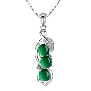 Natural Green Chalcedony Pendants 925 Silver Necklace Agate Jade Peridot Bizuteria for Women Bijoux or Gemstone Pendants Jewelry