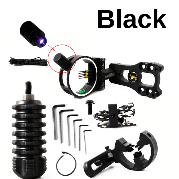 5 Pin Bow Hunting Accessory Kit: Available in Black, Carbon & Camo, Includes: Sight w/ sight light, Stabilizer, Arrow Rest, Peep Sight, & Wrist Sling