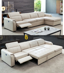 Living Room Sofa bed and recliner real genuine leather
