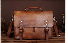 Load image into Gallery viewer, Vintage Men Crazy Horse Genuine Leather Briefcases Male Shoulder Cross Body Business Bags Students Messenger Satchels D824
