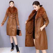 Load image into Gallery viewer, Winter Faux Fur Collar Leather Long Loose Coats Coat Female Jacket Parka Women Fourrure Femme Rabbit Mink Sheepskin Fashion Fox