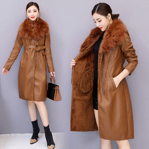 Winter Faux Fur Collar Leather Long Loose Coats Coat Female Jacket Parka Women Fourrure Femme Rabbit Mink Sheepskin Fashion Fox