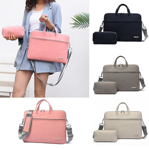Puimentiua PU Leather women Laptop Bag Notebook Carrying Case Briefcase for Macbook Air 13.3 14 15.6 inch Handbags shoulder Bag