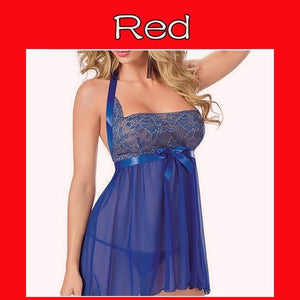 Women Sexy Lingerie Black Blue Red See Through Gauze Lace Splice Chemise Babydoll Erotic Lingerie Sexy Costumes Plus Size S-6XL