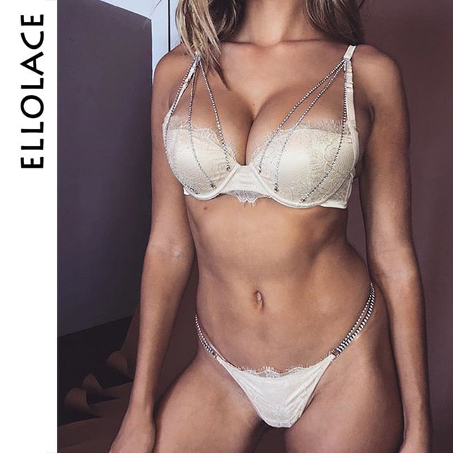 Ellolace Sexy Underwear Set Shiny Push Up Women Lingerie Bra & Brief Sets Underwire Bralette and Panties Fashion Female Sets