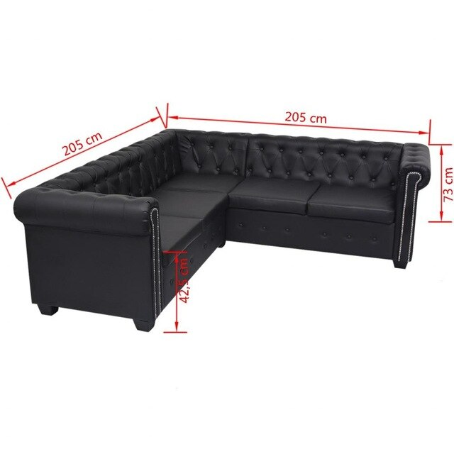 Chesterfield Style 5 seater sofa in black faux leather