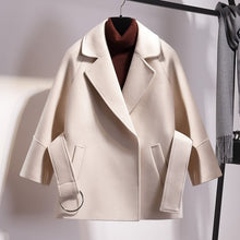 Load image into Gallery viewer, Women Short Woolen Coat Belt Jacket