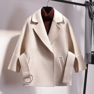 Women Short Woolen Coat Belt Jacket