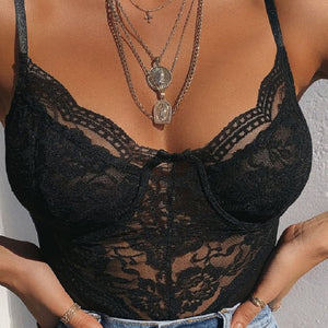 Cryptographic Straps Sexy Black Tempting Mesh Lace Bodysuit Fashion Body Mujer Push Up Female Bodysuits Sleeveles Teddies Slim