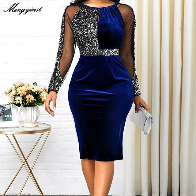 Summer Autumn Dress Women 2020 Casual Plus Size Mesh Long Sleeve Office Lady Sequined Vintage Sexy Party Dresses Bodycon Dress
