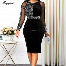 Load image into Gallery viewer, Summer Autumn Dress Women 2020 Casual Plus Size Mesh Long Sleeve Office Lady Sequined Vintage Sexy Party Dresses Bodycon Dress