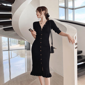 French long slim slim fringed knit short sleeve dress ladies spring and summer 2020 new Joker split tail V-neck dress